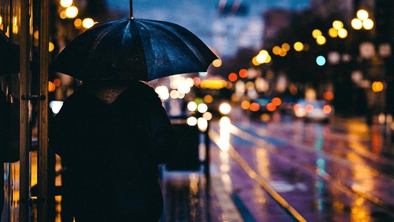 雨の中の帰宅