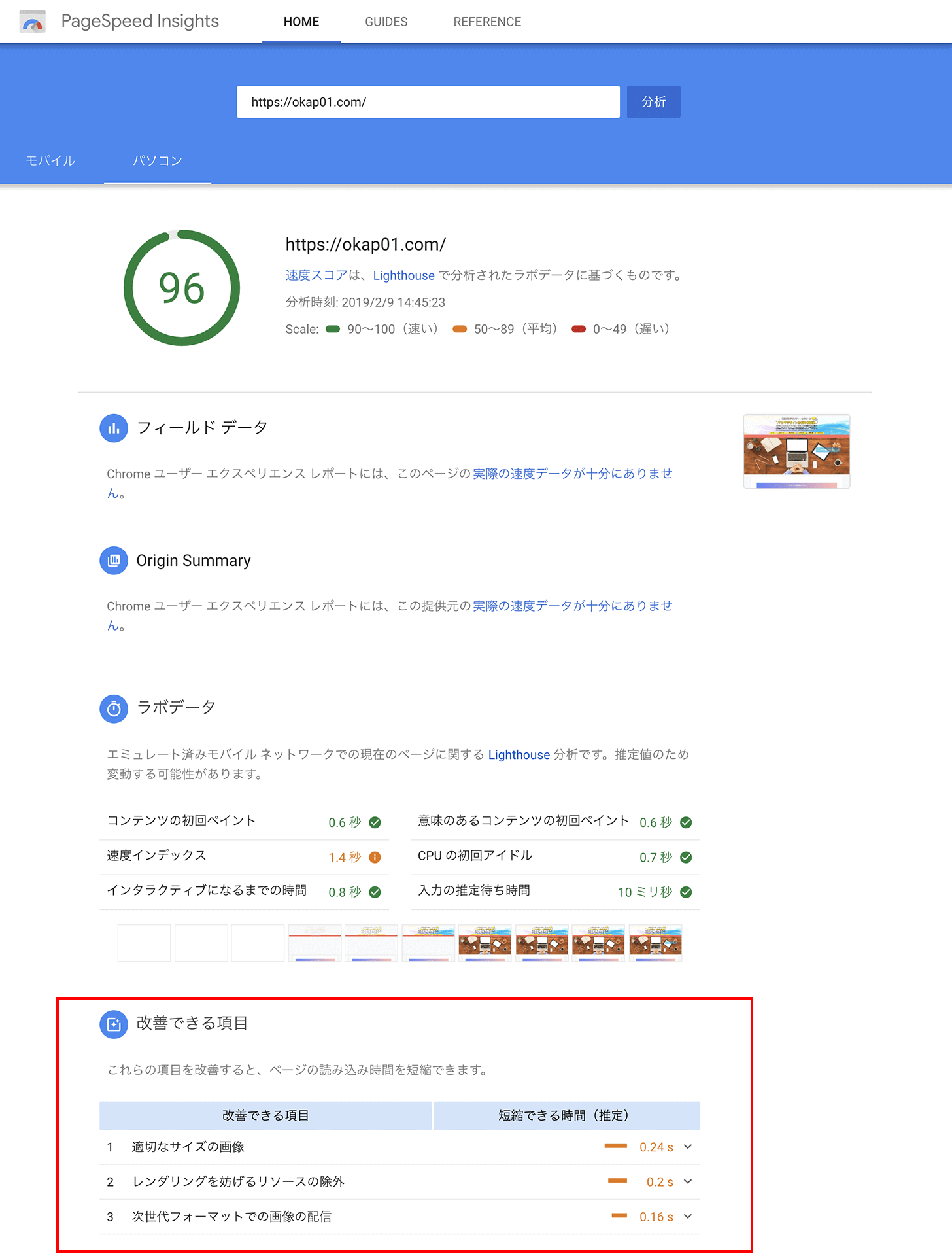 pagespeed-insights 96点 パソコン